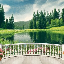 Wallpapers mural 3d view of a pine forest lake through railing