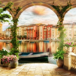 Wallpapers 3d view of Venice in columns with ivy