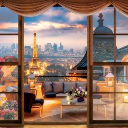 Photo mural view of Paris at sunset through the balcony