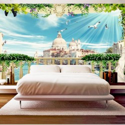 Wallpapers 3d view terrace in Venice Grand Canal with flowers