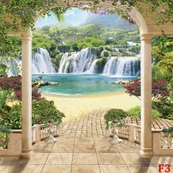 Wallpapers beautiful view of waterfalls through columns