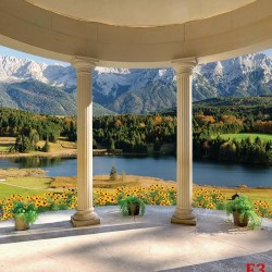 Wallpapers terrace arch columns with mountain landscape