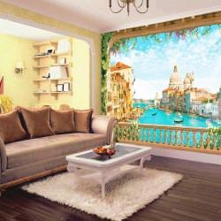 Photo wallpaper 3d effect Venice Grand Canal through an old terrace