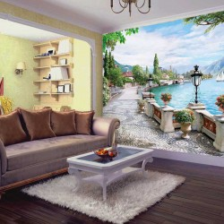 Photo wallpapers 3d beautiful cityscape with lake model painted