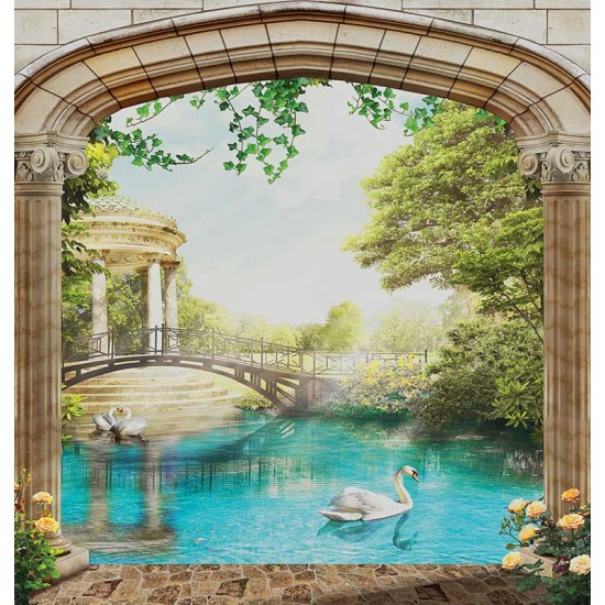 Photo mural 3d landscape with columns and a view of a swan lake