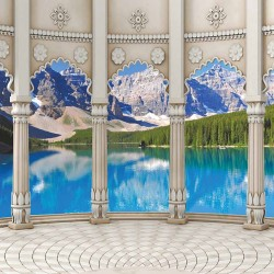 Photo mural natural landscape classic columns on a mountain lake