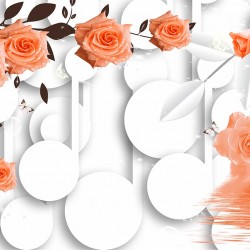 Wall murals 3D model with roses and circles white background  2 colors