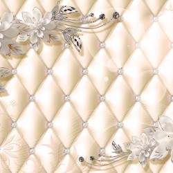 Wall murals 3D flowers and leather effect with crystals in 2 versions
