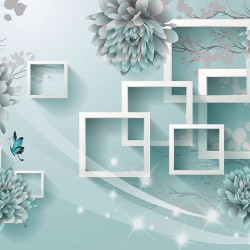 Wall murals 3D wall design in turquoise color and light blue