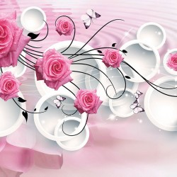 Wall murals pink roses in modern composition with circles 3D