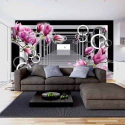 Wall murals 3D black white tunnel with magnolia and spheres