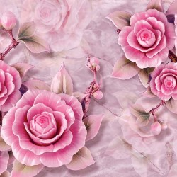Wall murals porcelain 3D relief pink flowers in 2 variants
