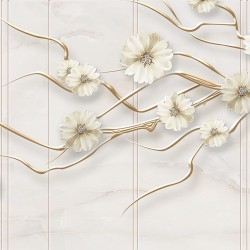 Wallpapers 3D effect twig with diamond flowers in 2 colors