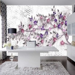 Wallpapers colored twig with small flowers with 3d effect of gray base