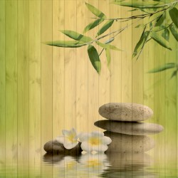 Photo mural spa  with bamboo background wooden structure