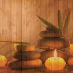 Photo mural spa candles brown background wooden structure