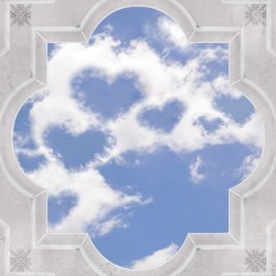 classical frame with ornaments sky and clouds hearts ceiling