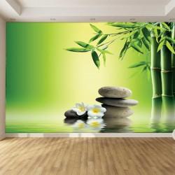 Photo mural bamboo and grey spa stones