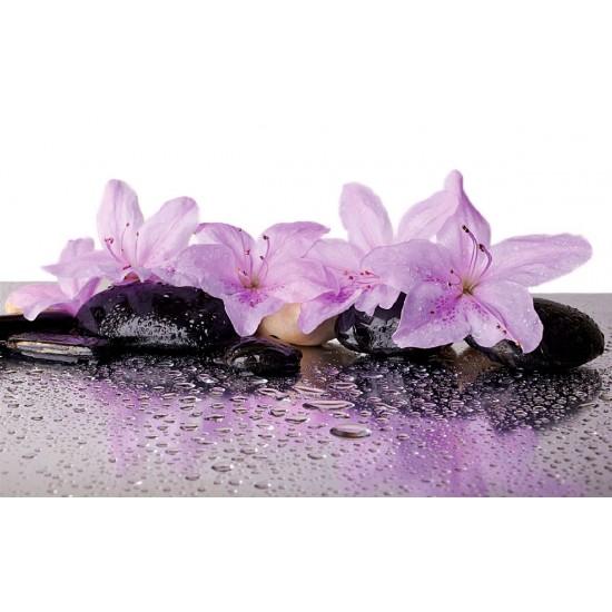Wallpapers mural spa stones with wonderful purple flowers