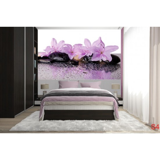 Wallpapers mural spa stones with wonderful purple flowers