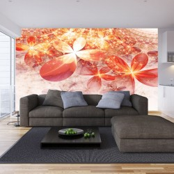 Wall mural flowers and ornaments in fiery colors