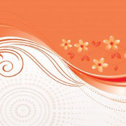 Wall mural flowers and spirals in orange 2 options