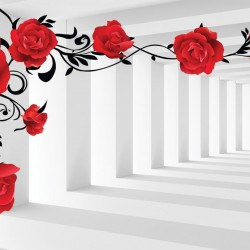 Wall murals 3d model red roses in tunnel