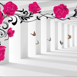 Wall murals 3d model pink roses in tunnel