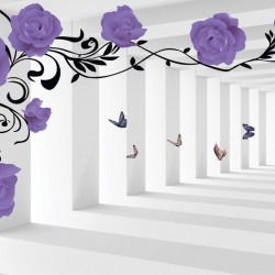 Wall murals 3d mode purple roses in tunnel
