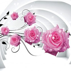 Wallpapers 3D tunnel with pink roses and drops in 2 colors