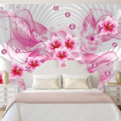 Wall murals 3d abstraction with flowers and pink diamonds