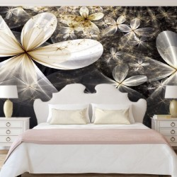 Wall mural abstract flowers in black-white