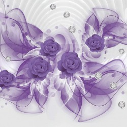 Wall murals 3d abstraction with purple flowers and diamonds