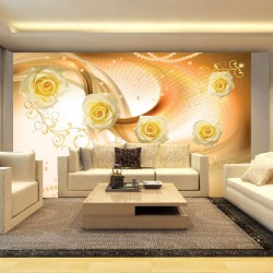 Wall murals composition of roses and ornaments in orange gamma