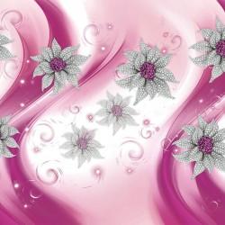 Wall murals 3d diamond jewelry flowers in pink