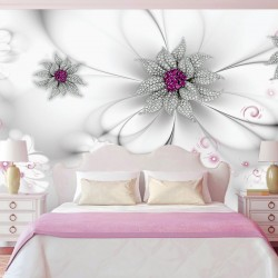Wall murals diamond flowers on a soft gray background