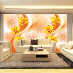 Wall murals 3d composition with orange orchids and butterflies