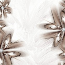 Wall murals Abstraction with diamonds in the cappuccino of feathers background