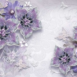 Wall murals diamond jewelery in purple with butterflies and pearls