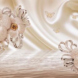 Wall murals diamond flowers in a warm nuance silk effect