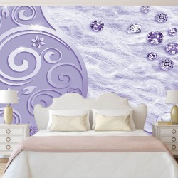 Wall murals ornaments with scattered diamonds in a purple range