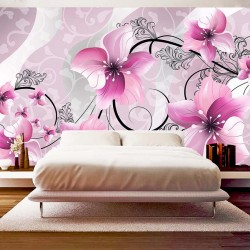 Wall murals painted flowers in pink and black ornaments