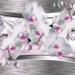 Wall murals 3d white orchids on a background metallic abstract
