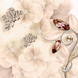 Wall murals gentle flowers with jewels and butterflies 2 colors