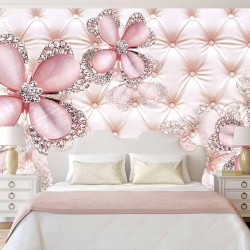Wall murals diamond flowers of upholstery leather coral shade