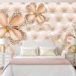 Wall murals diamond flowers of upholstery leather beige shade