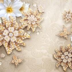 Wall murals diamond flower beige textured base