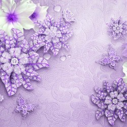 Wall murals diamond flower purple textured base
