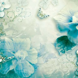 Photo murals gentle floral composition in turquoise color and butterflies