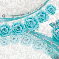 Wall murals abstract lines with purple and turquoise roses and diamonds